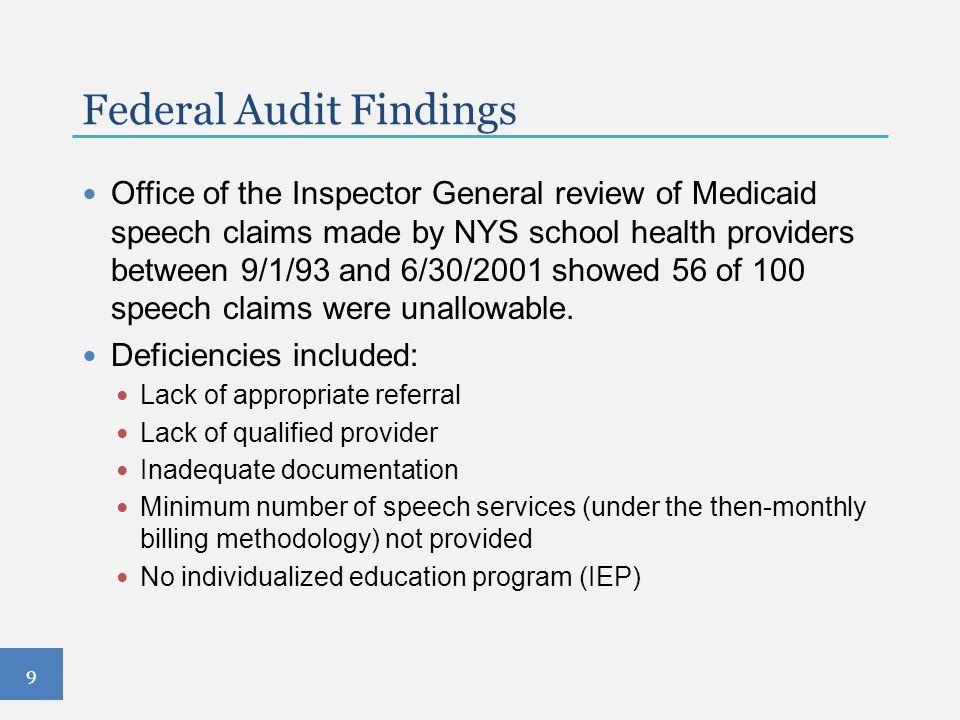 Federal Audit Findings