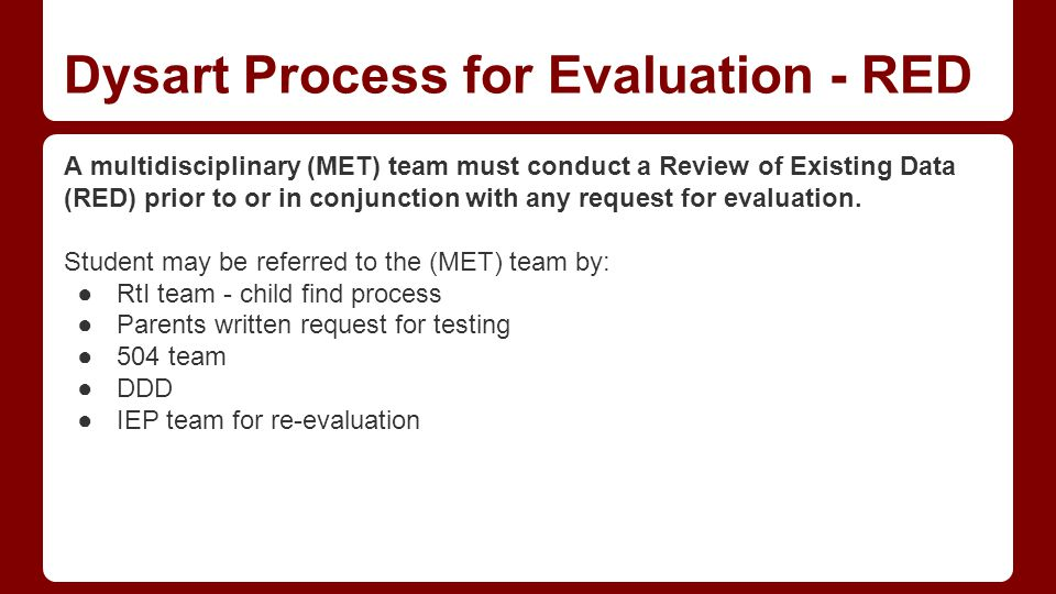 Dysart Process for Evaluation - RED