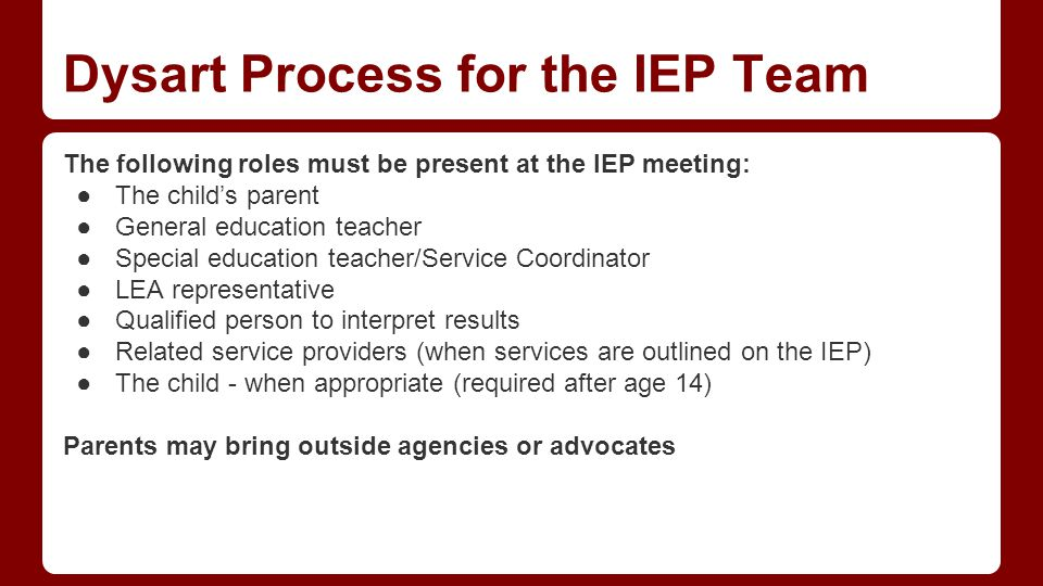 Dysart Process for the IEP Team