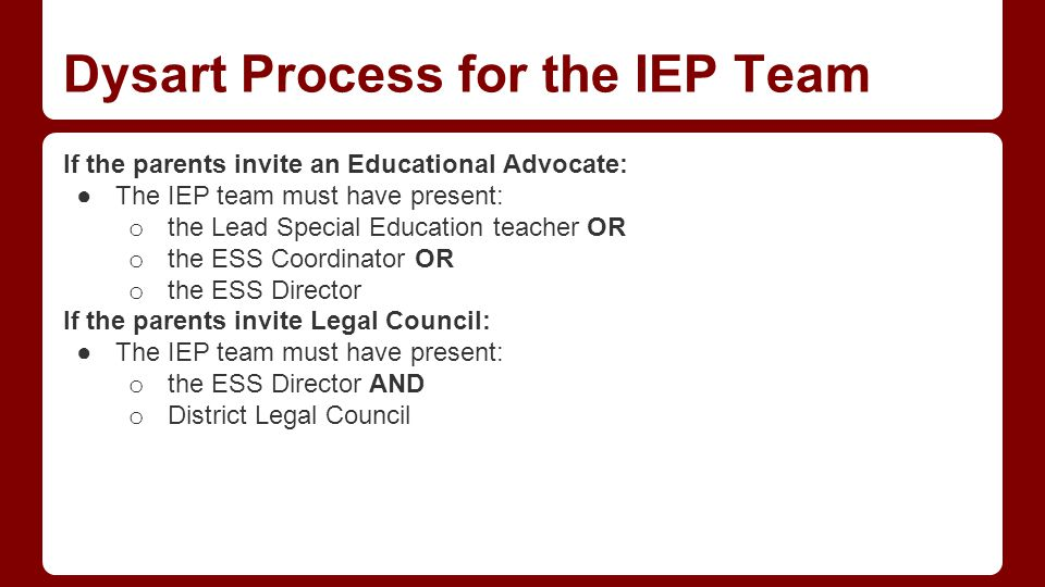 Key Roles in the IEP Team