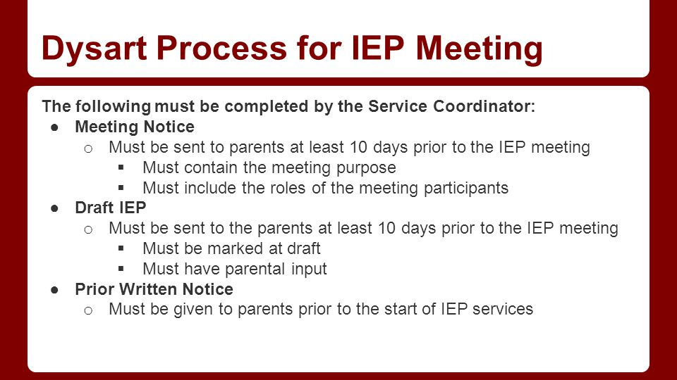 Dysart Expectation - IEP components