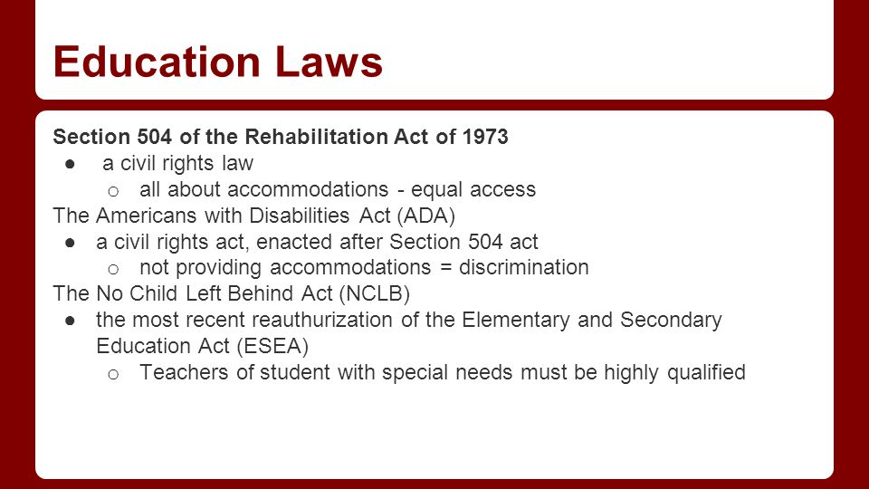 Education Laws - continued