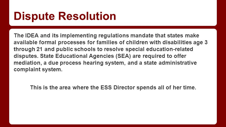 Dispute Resolution Mediation Part of parental safeguards
