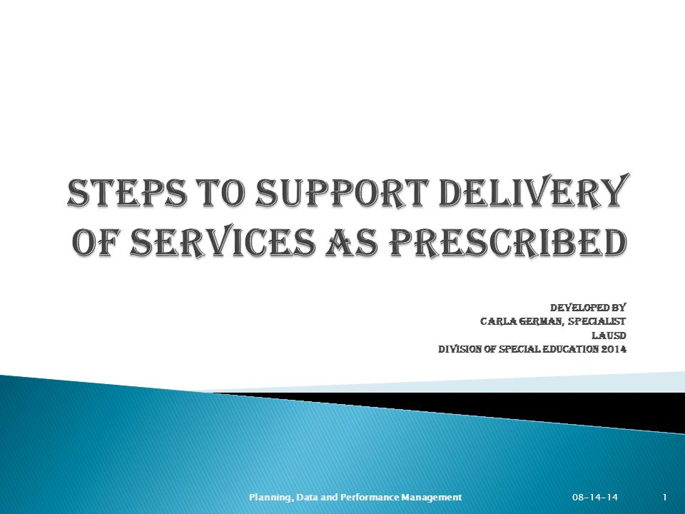 Steps to Support Delivery of Services as Prescribed