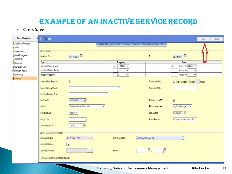 Example of an inactive service record