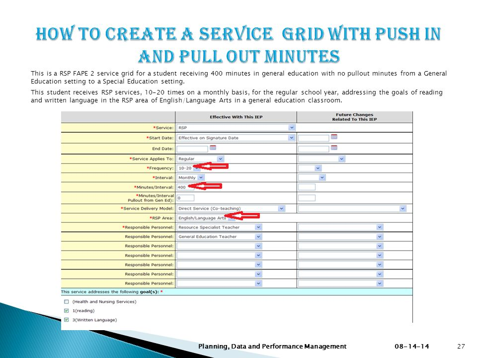 How to create a service Grid with Push in and PuLL out minutes