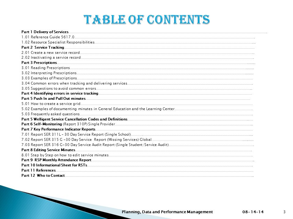 Table of ContentS Planning, Data and Performance Management 08-14-14