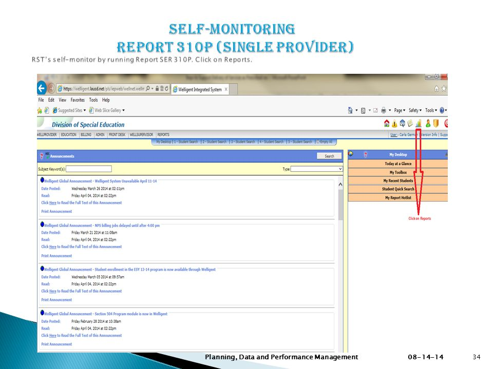 Self-Monitoring Report 310P (Single Provider) RST's self-monitor by running Report SER 310P. Click on Reports.