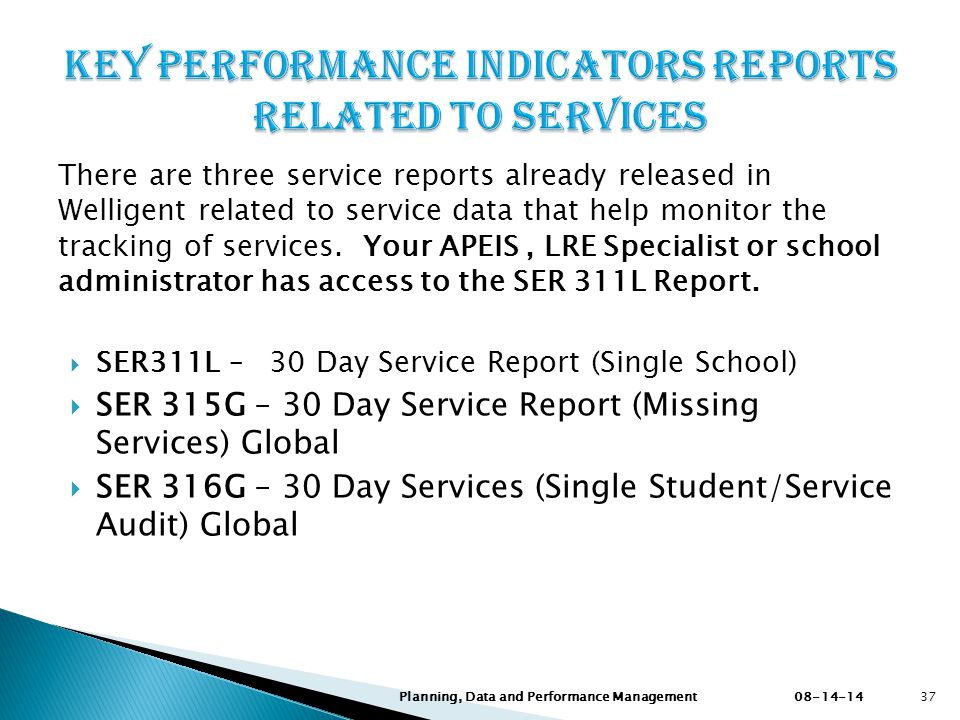 KEY PERFORMANCE INDICATORS REPORTS RELATED TO SERVICES