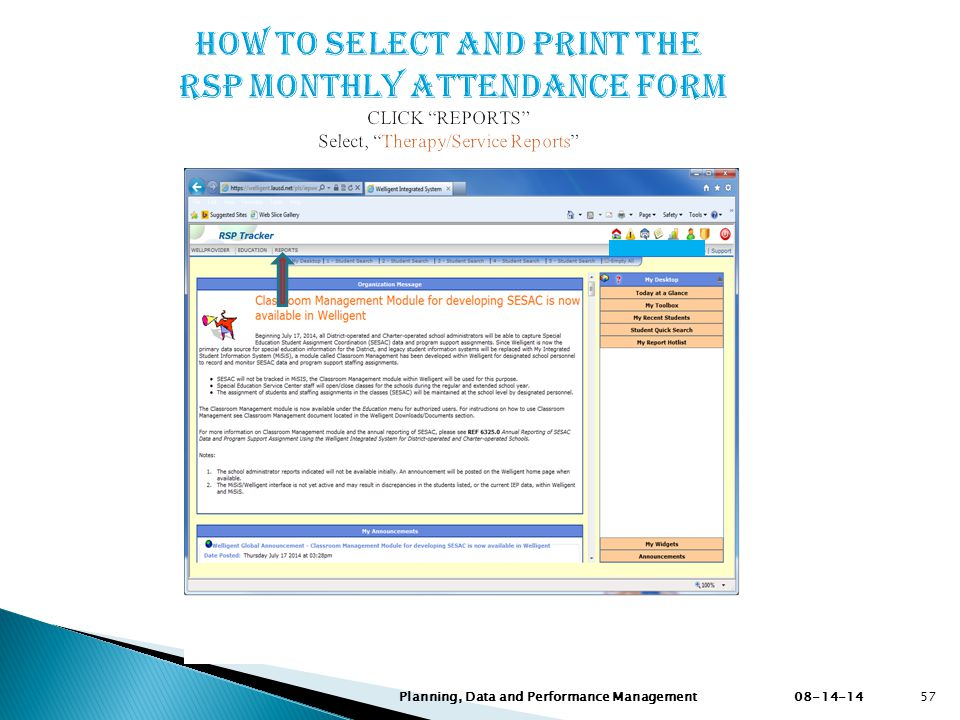How to SELECT AND PRINT the RSP MONTHLY Attendance FORM CLICK REPORTS Select, Therapy/Service Reports