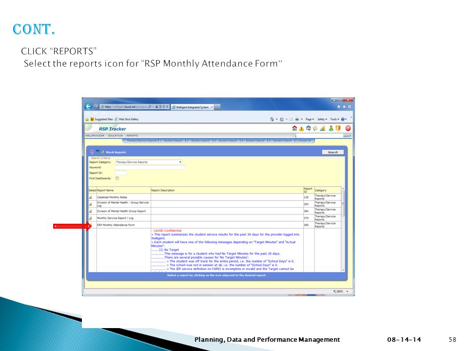 Cont. CLICK REPORTS Select the reports icon for RSP Monthly Attendance Form