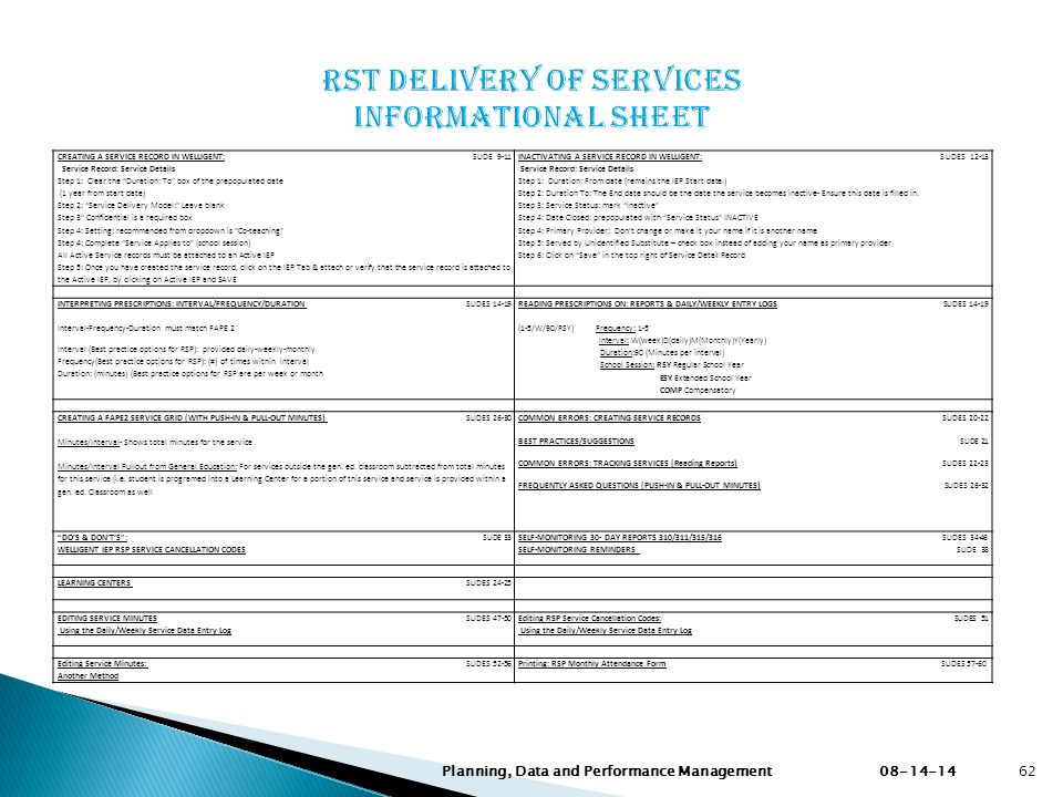 RST Delivery of Services Informational Sheet