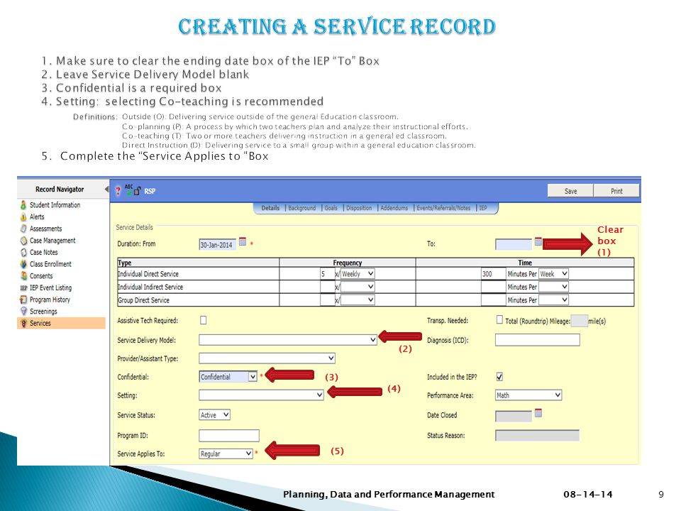 Creating a Service Record 1