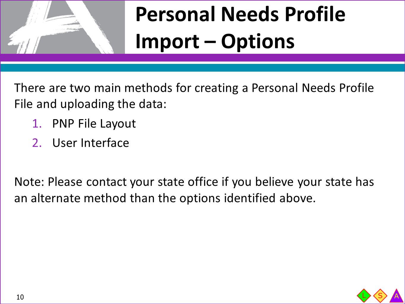 Personal Needs Profile Import – Options