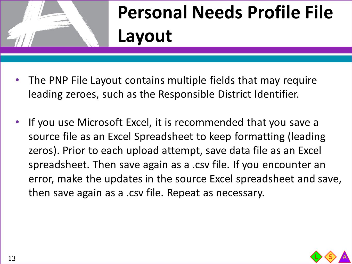 Personal Needs Profile File Layout