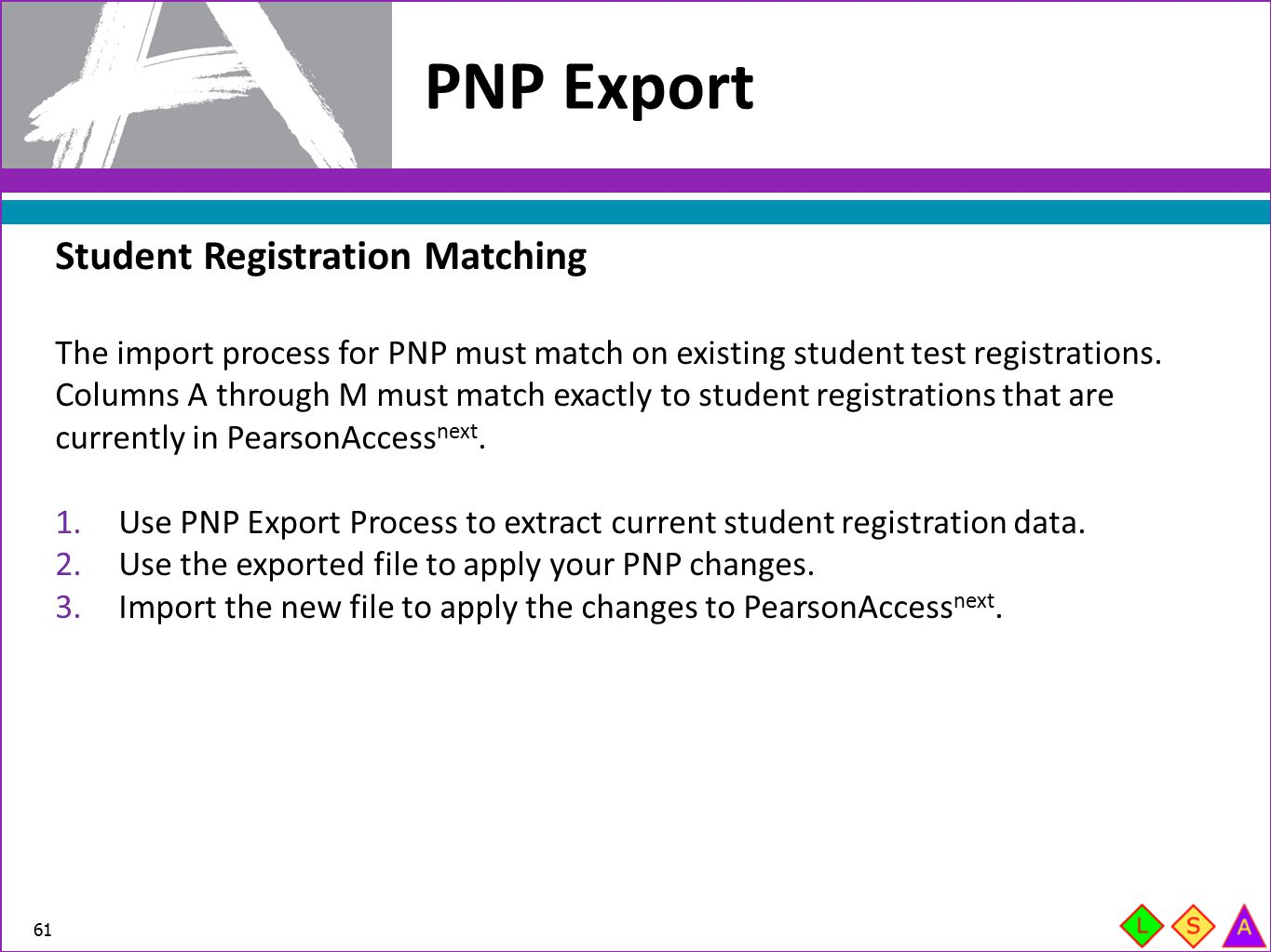 PNP Export Student Registration Matching