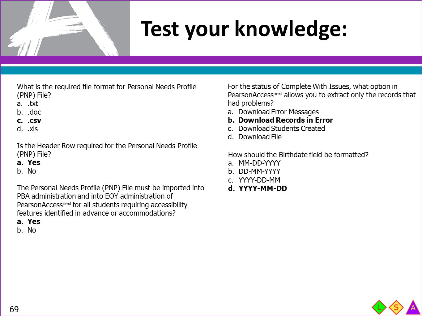 Test your knowledge: What is the required file format for Personal Needs Profile (PNP) File .txt.