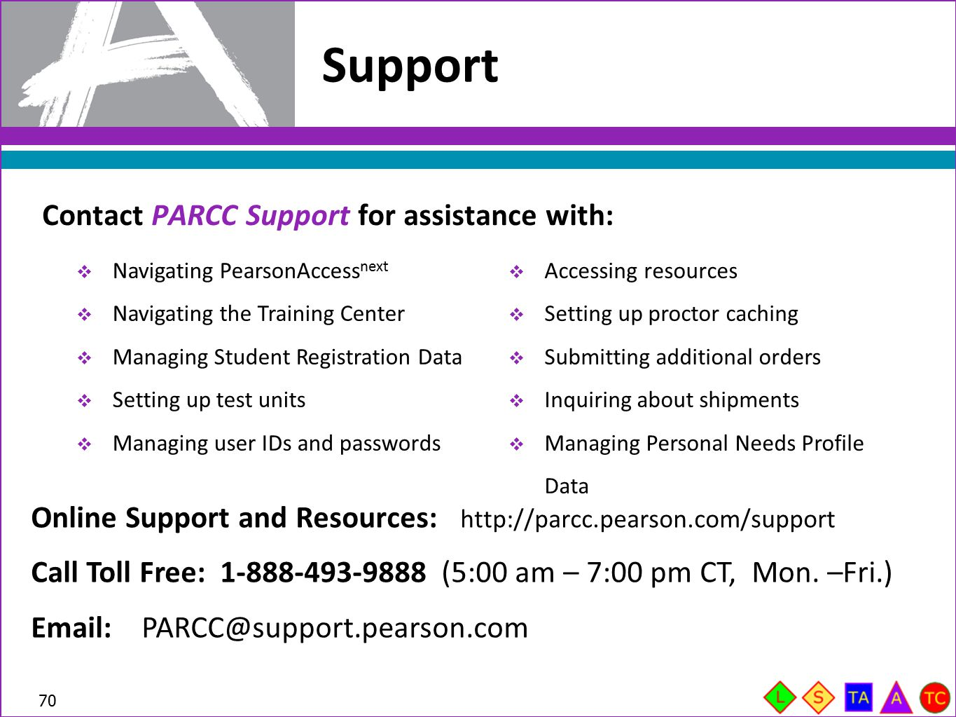 Support Contact PARCC Support for assistance with: