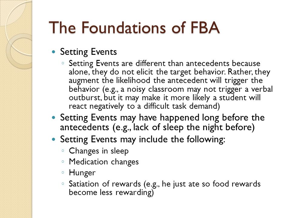 The Foundations of FBA Setting Events