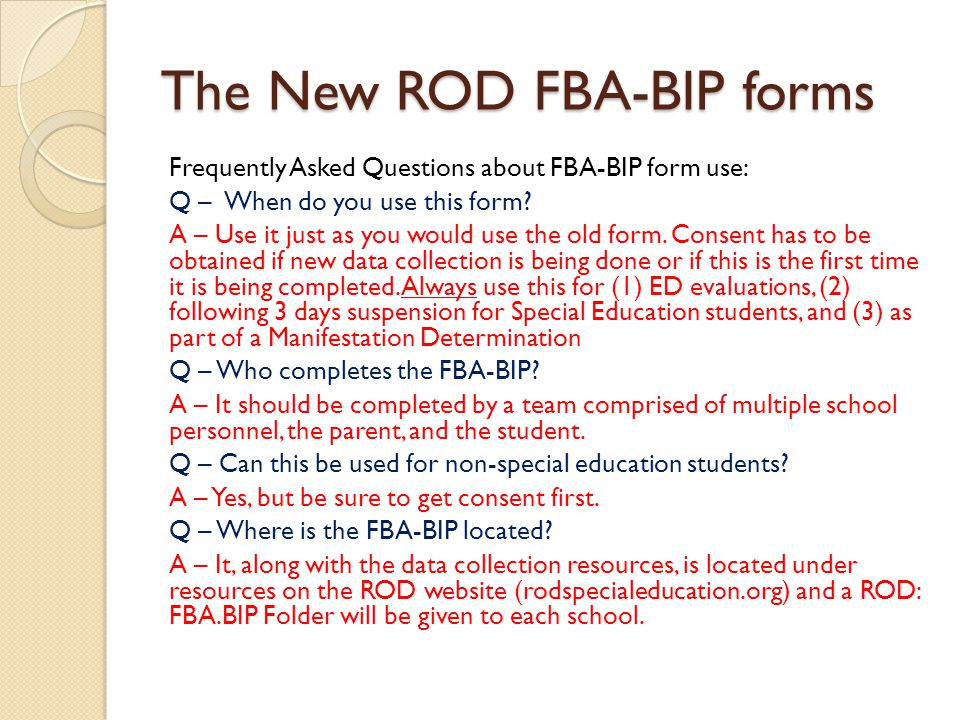 The New ROD FBA-BIP forms