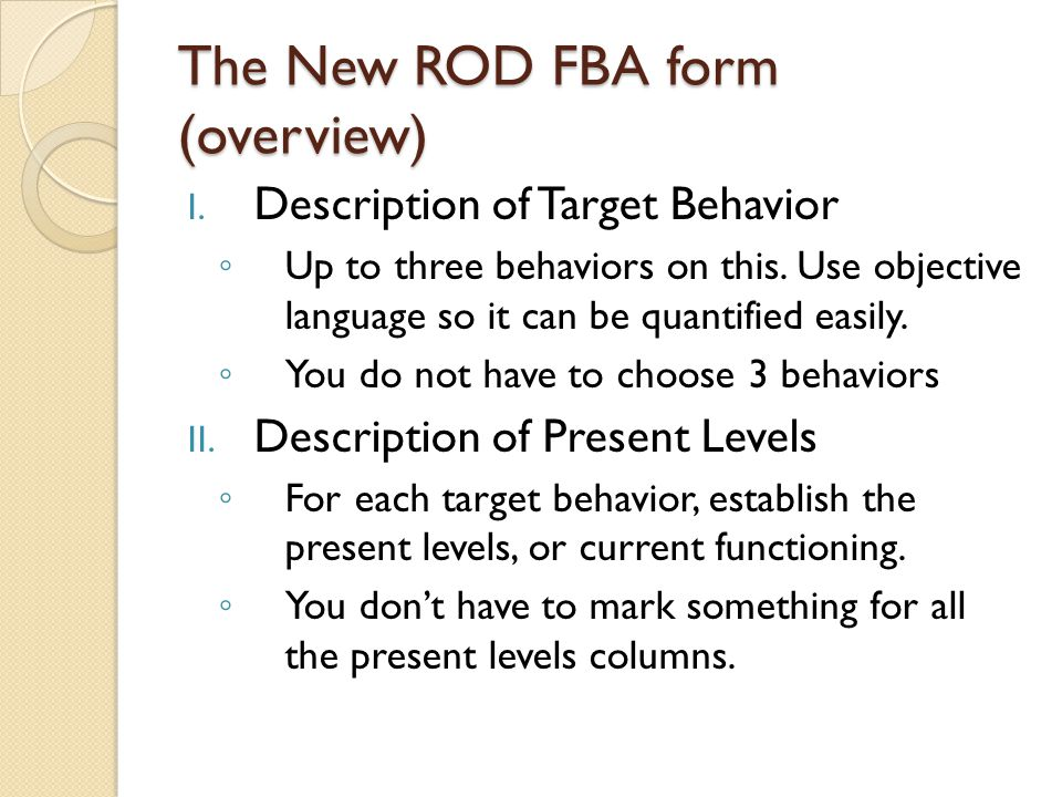 The New ROD FBA form (overview)