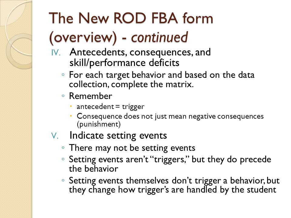 The New ROD FBA form (overview) - continued