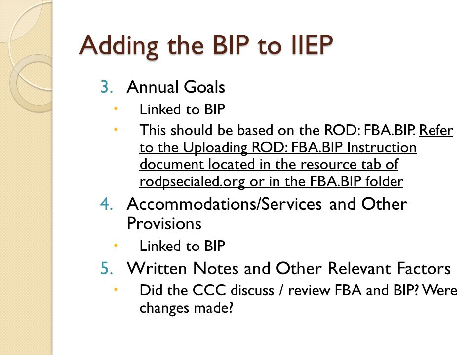 Adding the BIP to IIEP Annual Goals
