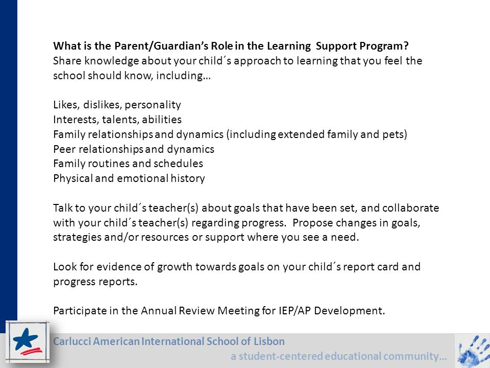 What is the Parent/Guardian's Role in the Learning Support Program