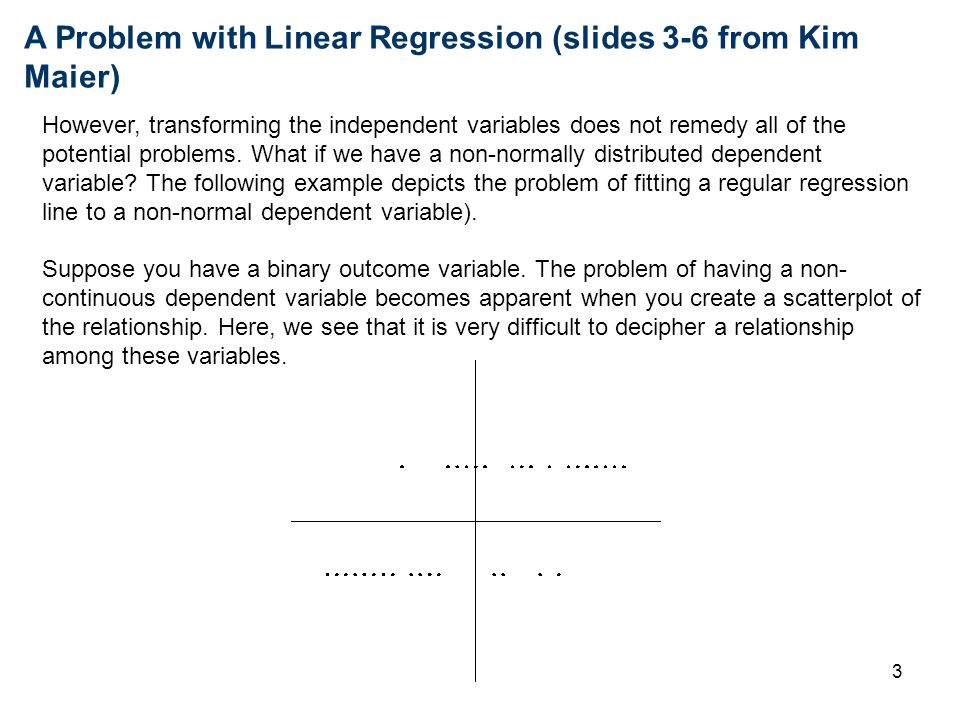 A Problem with Linear Regression (slides 3-6 from Kim Maier)