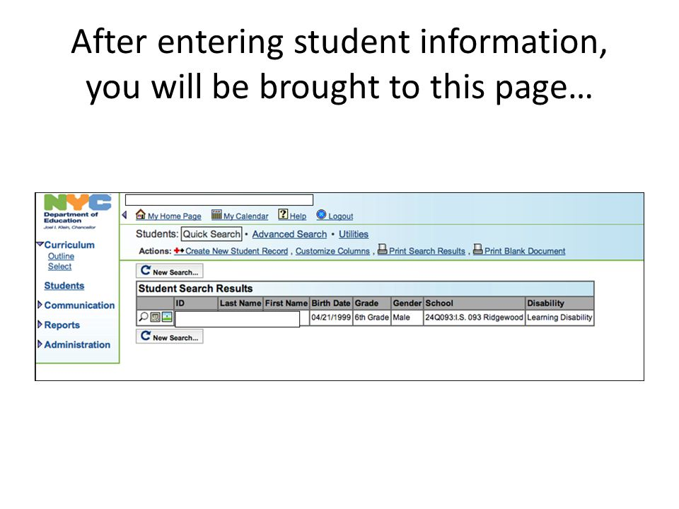 After entering student information, you will be brought to this page…
