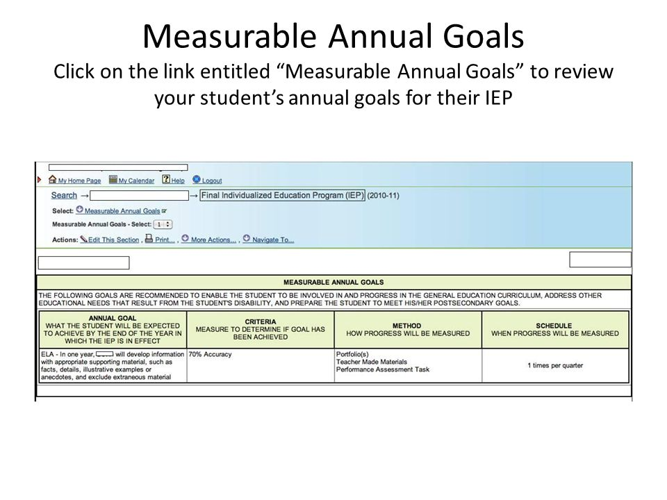 Measurable Annual Goals Click on the link entitled Measurable Annual Goals to review your student's annual goals for their IEP