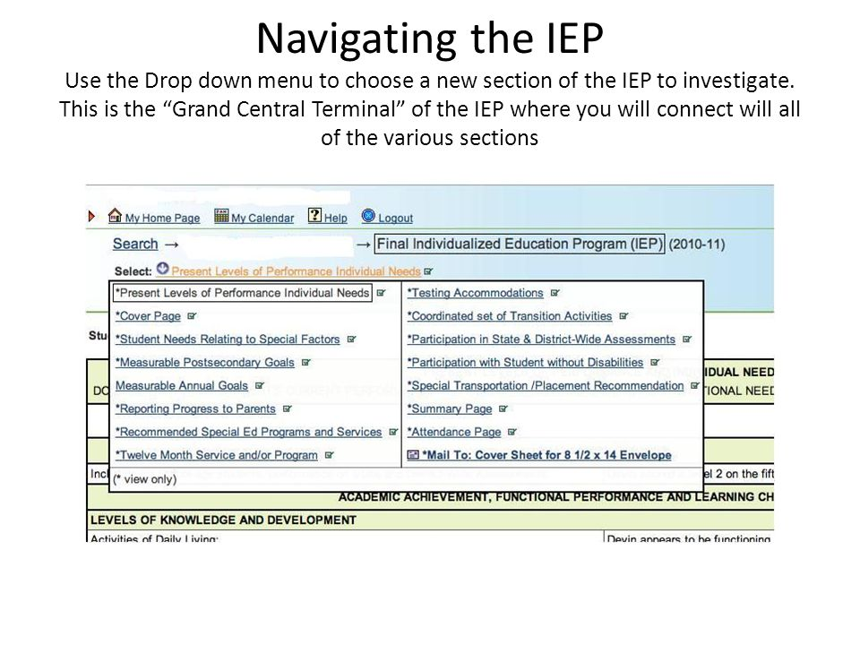 Navigating the IEP Use the Drop down menu to choose a new section of the IEP to investigate.