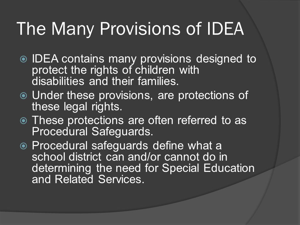 The Many Provisions of IDEA