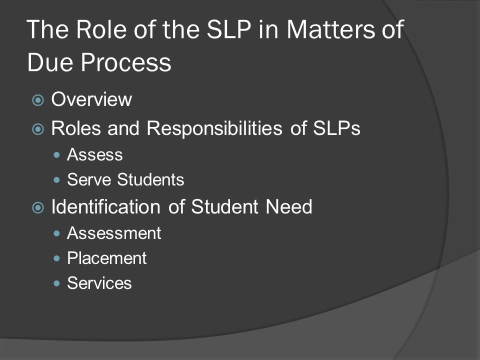 The Role of the SLP in Matters of Due Process