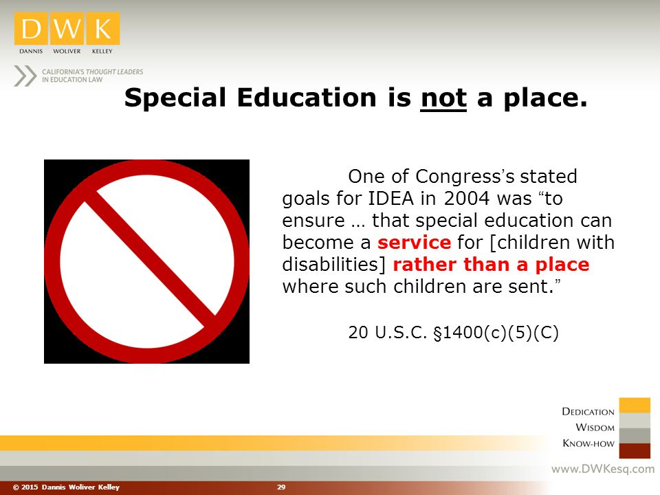 Special Education is not a place.