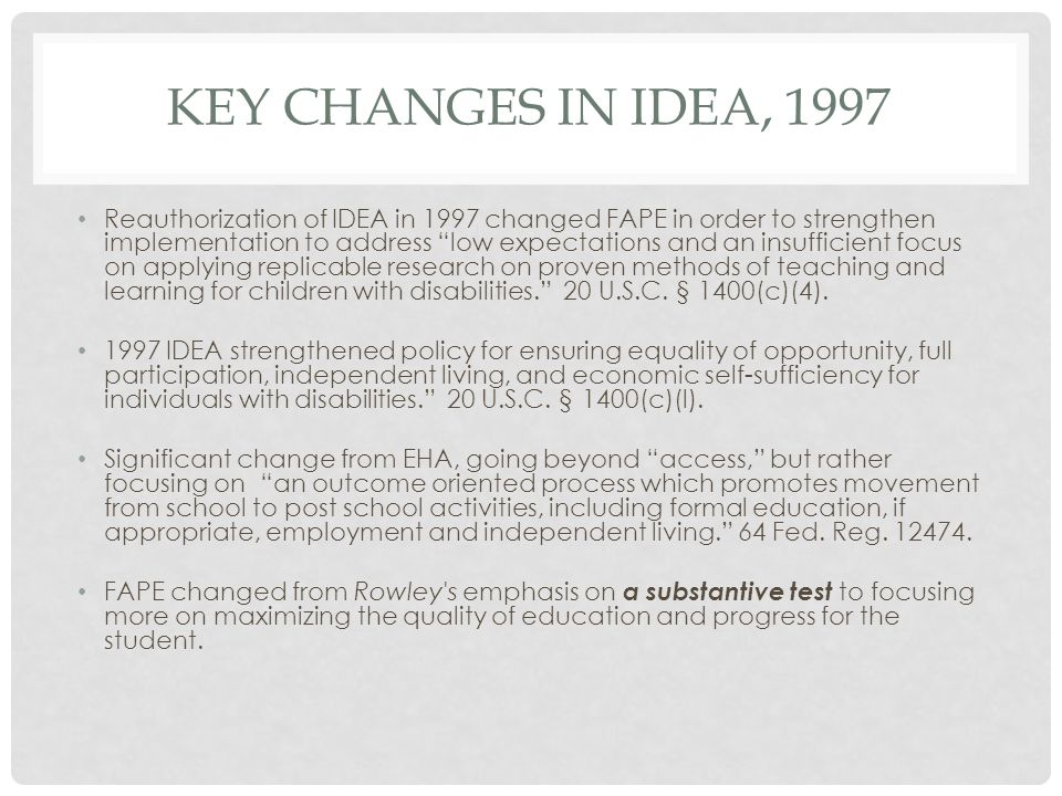 KEY CHANGES in IDEA, 1997