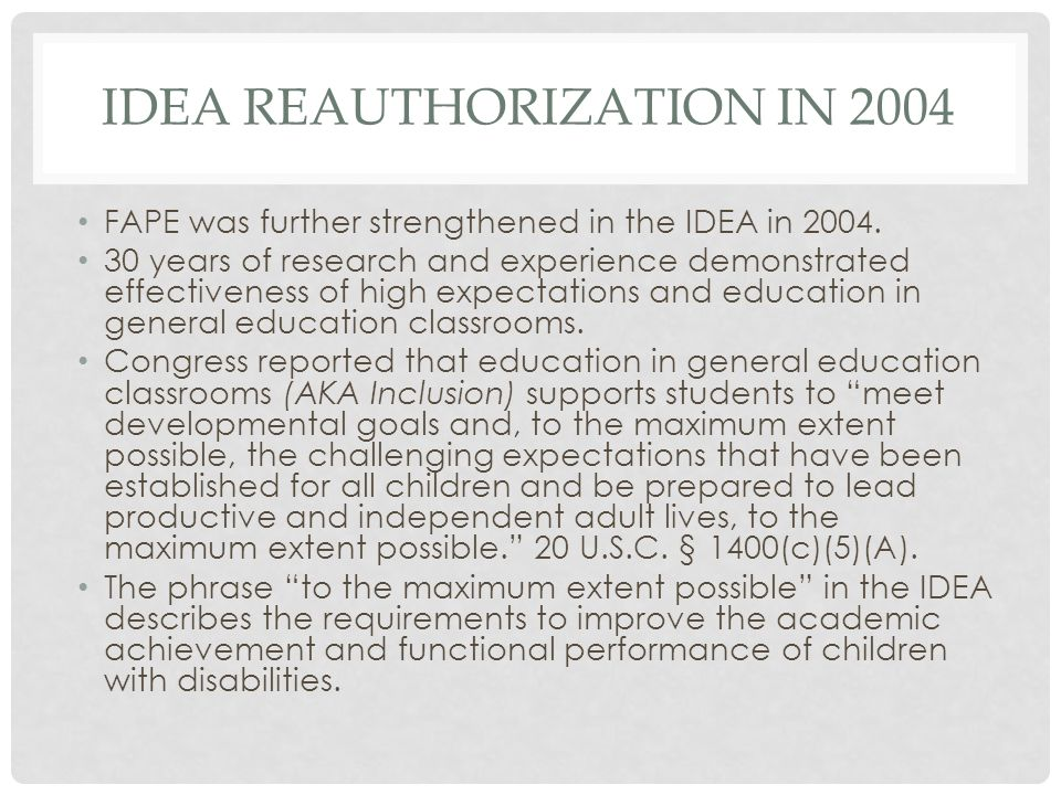 IDEA Reauthorization in 2004