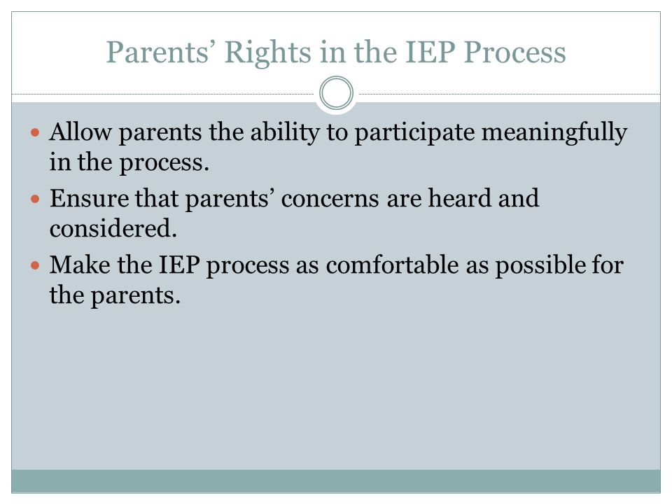 Parents' Rights in the IEP Process