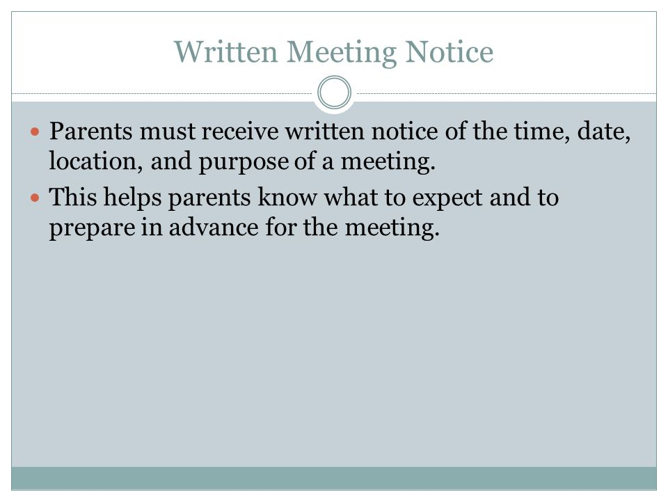 Written Meeting Notice