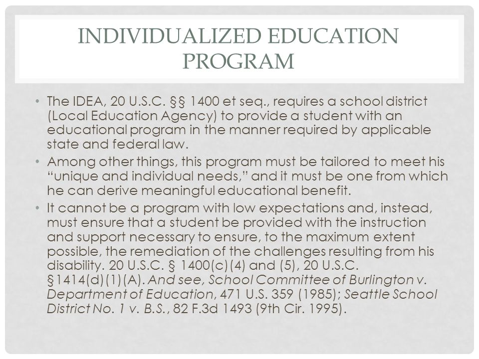 Individualized EDUCATION PROGRAM