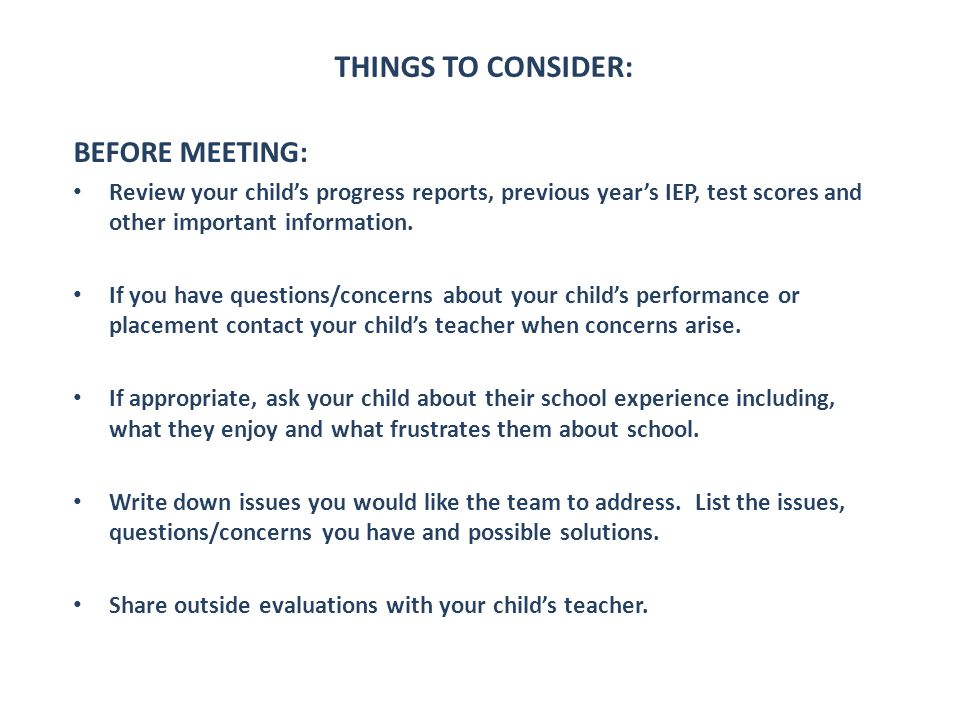 THINGS TO CONSIDER: BEFORE MEETING: