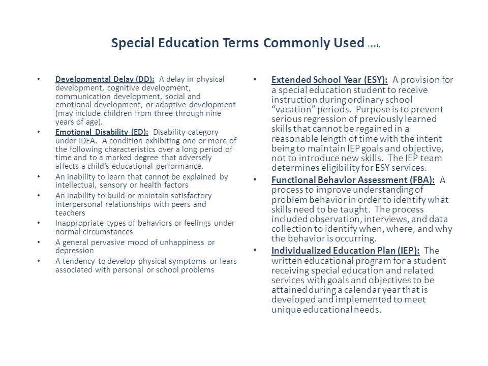 Special Education Terms Commonly Used cont.