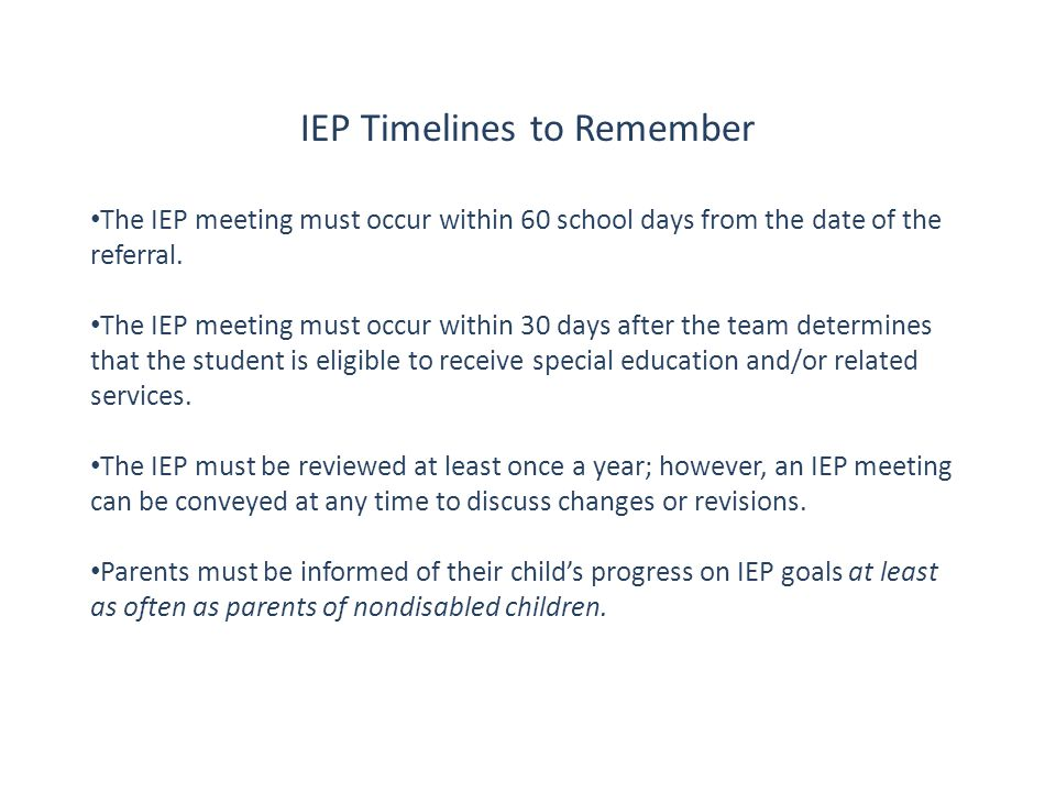 IEP Timelines to Remember
