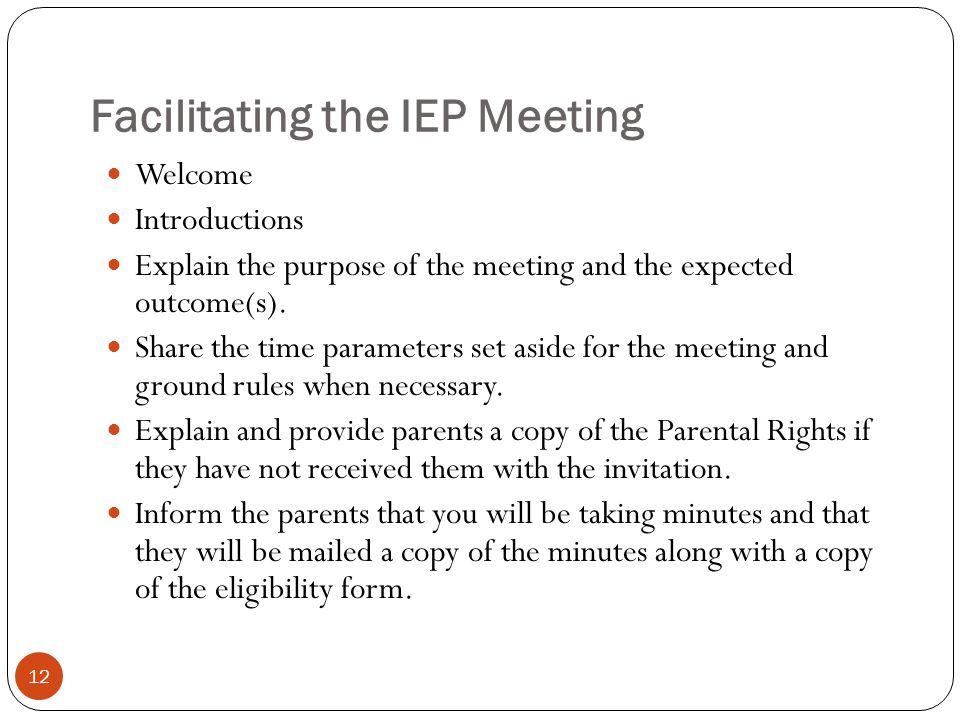 Facilitating the IEP Meeting
