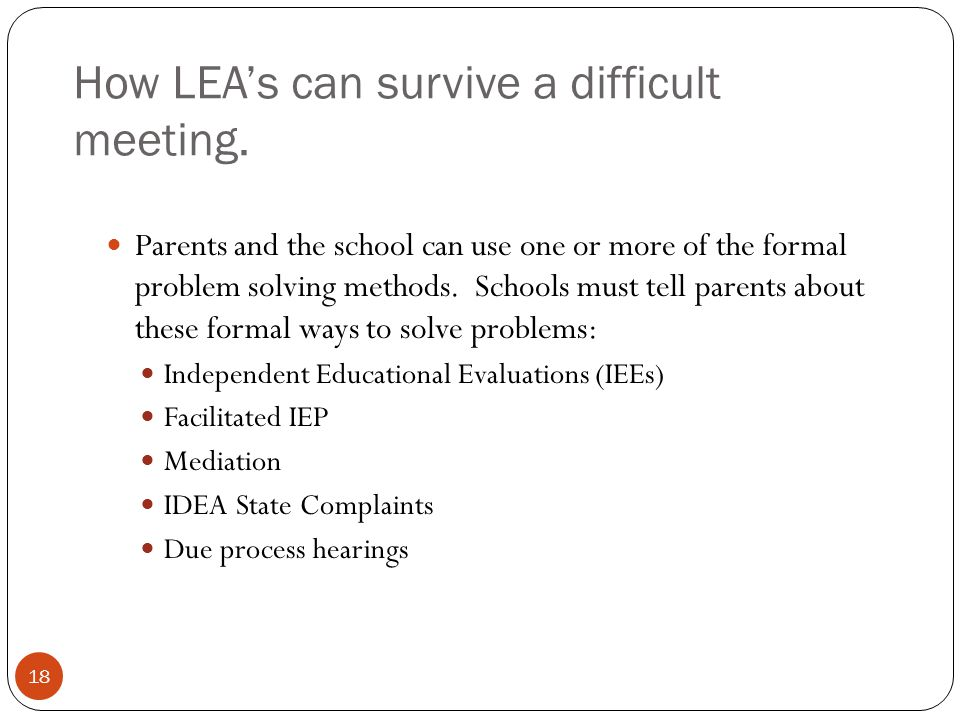 How LEA's can survive a difficult meeting.