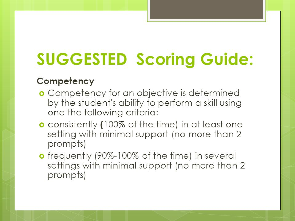 SUGGESTED Scoring Guide:
