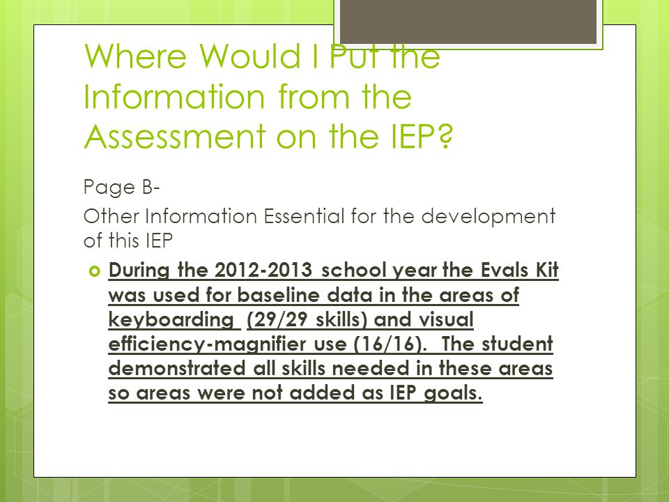 Where Would I Put the Information from the Assessment on the IEP
