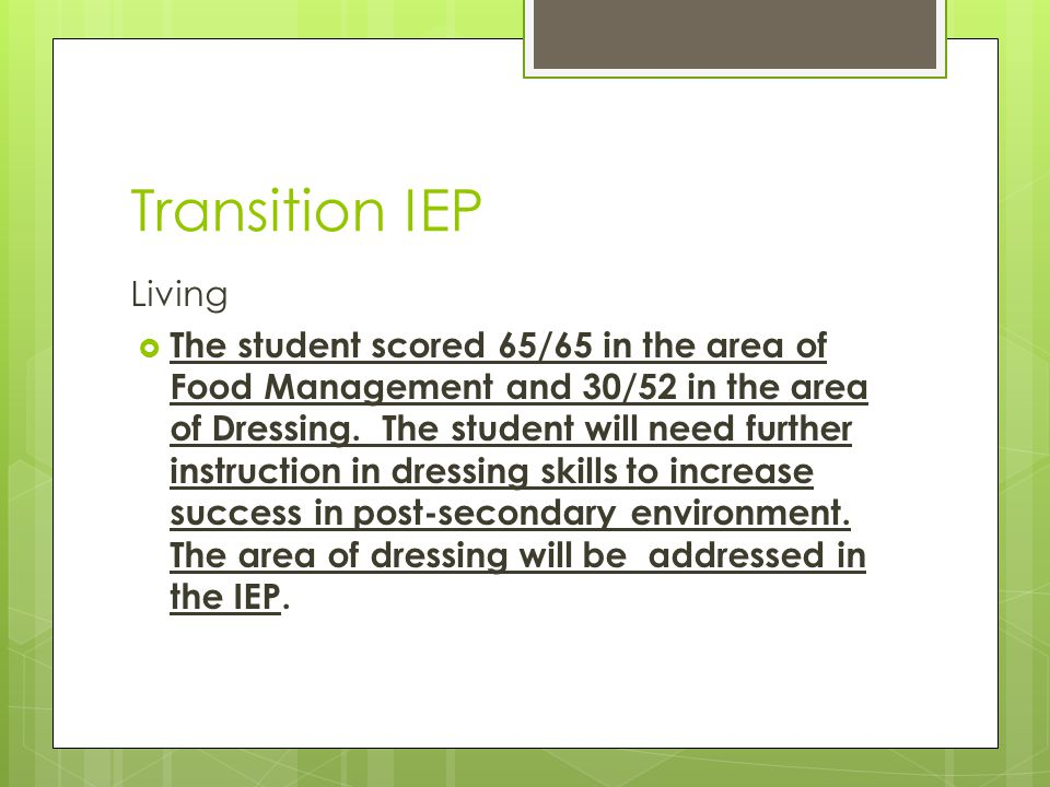 Transition IEP Living.