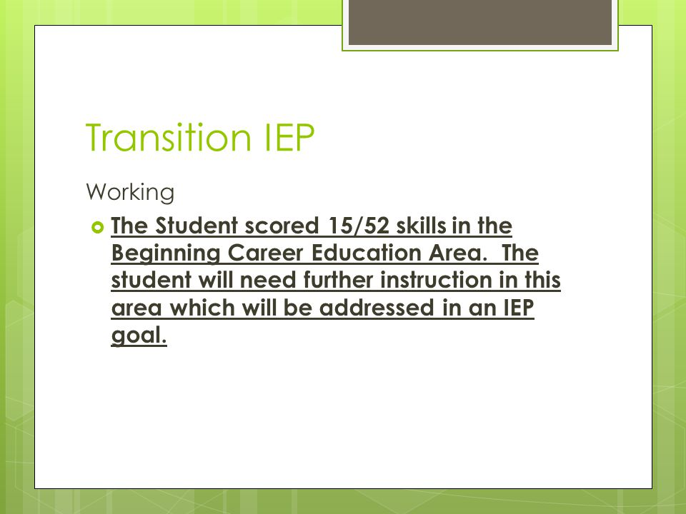 Transition IEP Working