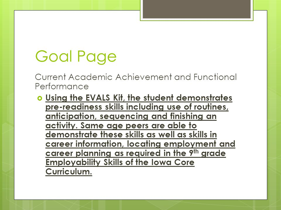 Goal Page Current Academic Achievement and Functional Performance